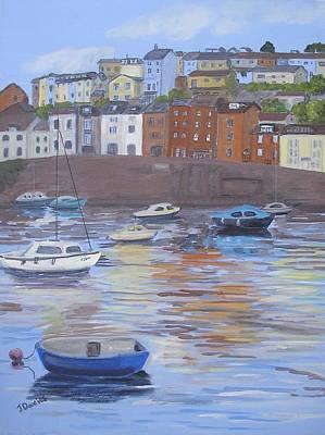 Brixham Harbour Painting - Brixham Harbour Devon by Janet Davies