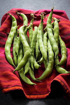 Broad Beans On A Red Cloth Art Print by Aberration Films Ltd