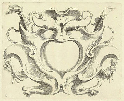 Burning Heart Wall Art - Drawing - Broad Lobe Cartridge With Heart-shaped Compartment by Johannes Lutma (ii)