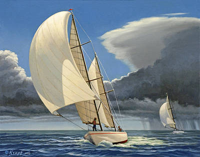 Sailboats Painting - Broad Reach by Paul Krapf