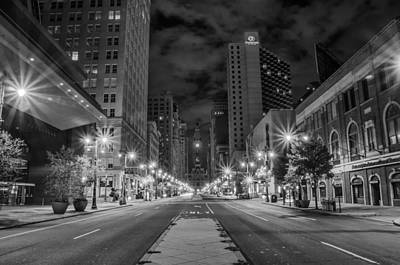 Broad Street Digital Art - Broad Street At Night In Black And White by Bill Cannon