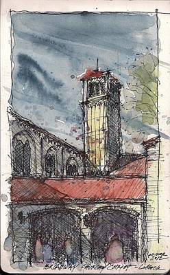 Art Print featuring the mixed media Broadway Church Of Christ Study by Tim Oliver