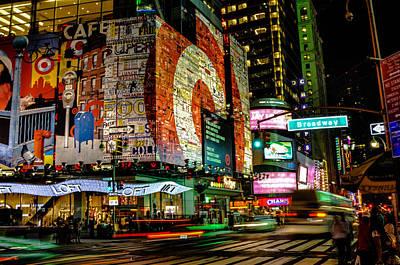 U2 Photograph - Broadway Lights by Alex Hiemstra