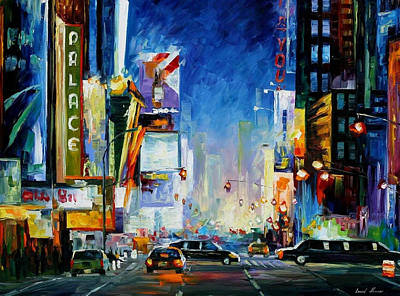 Broadway - Palette Knife Oil Painting On Canvas By Leonid Afremov Original