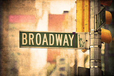 Photograph - Broadway Road Sign In Manhattan New York City by Songquan Deng
