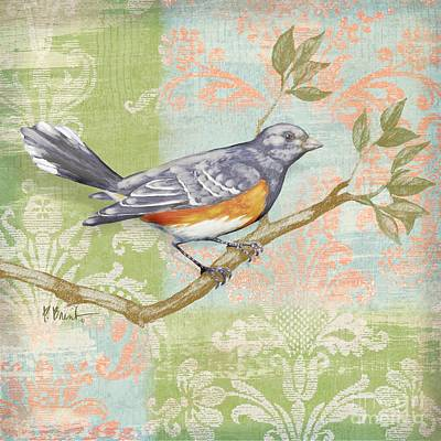 Fabric Collage Painting - Brocade Songbird Iv by Paul Brent