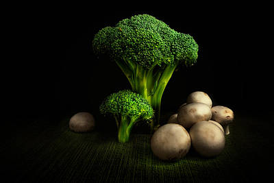 Broccoli Crowns And Mushrooms Print by Tom Mc Nemar