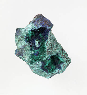 Brochantite And Azurite Crystals Art Print by Dorling Kindersley/uig