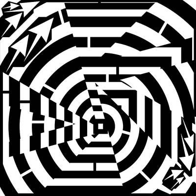 Optical Illusion Maze Drawing - Broken Circle Maze by Yonatan Frimer Maze Artist
