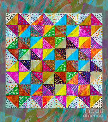 Machine Quilting Painting - Broken Dishes - Quilt Pattern - Painting 2 by Barbara Griffin