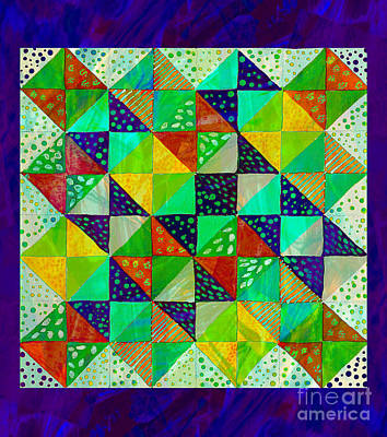Machine Quilting Painting - Broken Dishes - Quilt Pattern - Painting 3 by Barbara Griffin