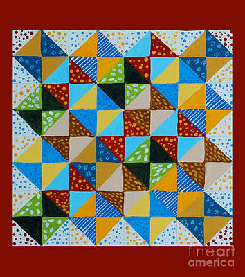 Block Quilts Painting - Broken Dishes - Quilt Pattern - Painting by Barbara Griffin