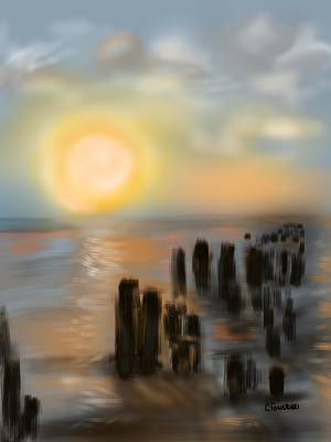 Art Print featuring the digital art Broken Dock by Christine Fournier