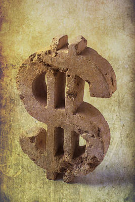 Crumble Photograph - Broken Dollar Sign by Garry Gay