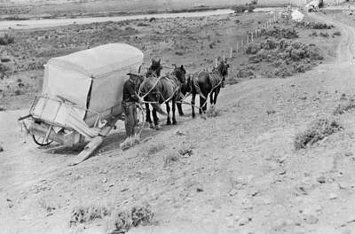Working Cowboy Photograph - Broken Down Wagon On Prairie by Underwood Archives