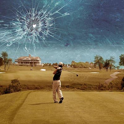 Golf Wall Art - Digital Art - Broken Glass Sky by Marian Voicu