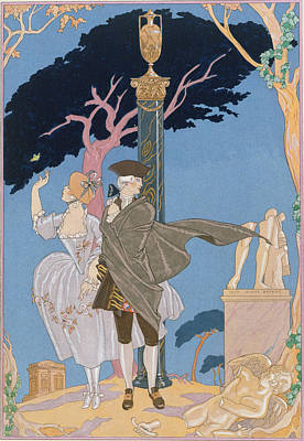 Historical Clothing Painting - Broken Hearts Broken Statues by Georges Barbier