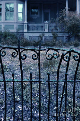 Broken Iron Fence By Old House Print by Jill Battaglia