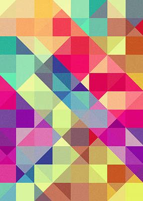 Geometric Digital Art - Broken Rainbow II by VessDSign