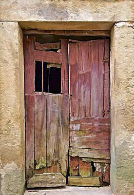 Broken Red Wood Door Art Print by David Letts