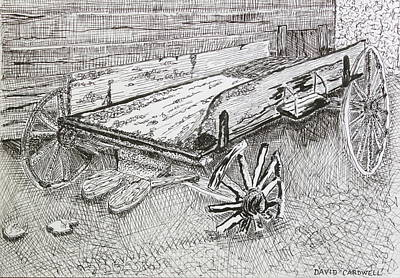 Old Shed Drawing - Broken Wagon by David Cardwell