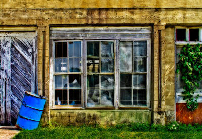 Photograph - Broken Windows And Blue Barrel by David and Carol Kelly