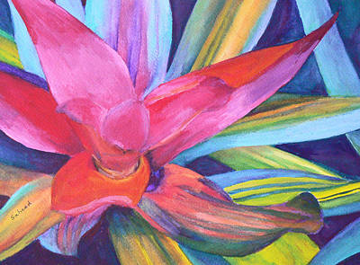 Art Print featuring the painting Bromeliad Pink by Margaret Saheed
