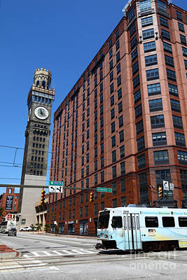 Bromo Seltzer Tower And Light Rail Train Baltimore Art Print