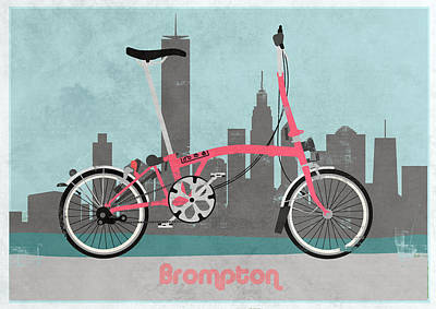 Tern Digital Art - Brompton City Bike by Andy Scullion