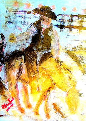 Painting - Bronc Riding Riverton Utah Rodeo by Richard W Linford