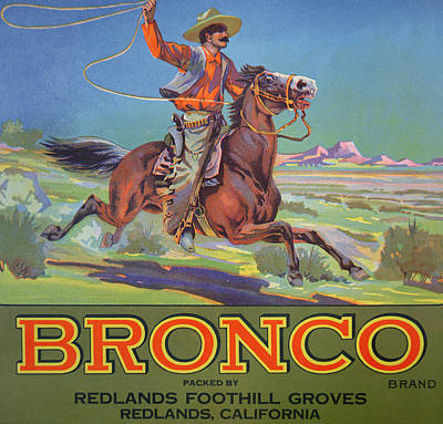 Western Horse Painting - Bronco Oranges by American School