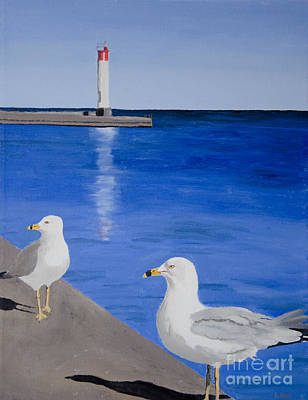 Painting - Bronte Lighthouse Gulls In Oil by Laurel Best