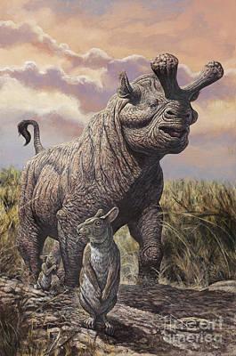 Brontops And Palaeolagus Rabbit Art Print by Mark Hallett