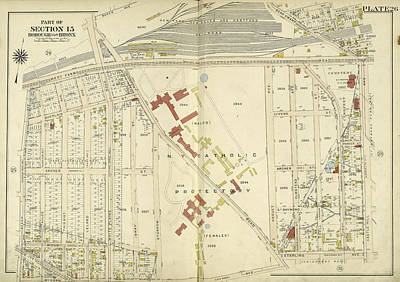 Bronx, V. 3, Double Page Plate No. 26 Map Bounded By West Art Print by Litz Collection