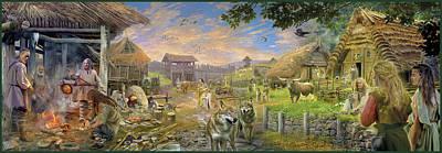 Panoramic Drawing - Bronze Age 2000bc by Jan Patrik Krasny