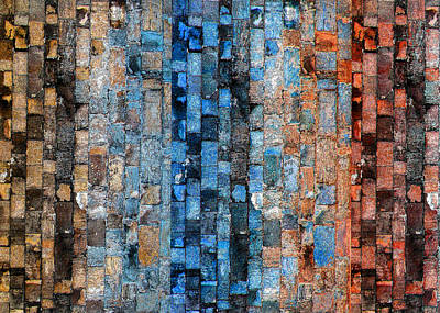 Digital Art - Bronze Blue Wall by Stephanie Grant