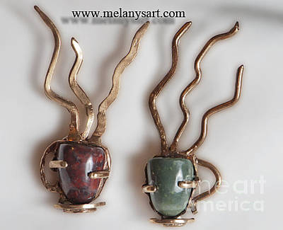 Agate Beach Jewelry - Bronze Coffee Cups Brooches by Melany Sarafis