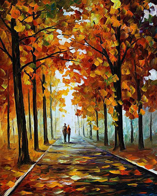 Bronze Fall - Palette Knife Oil Painting On Canvas By Leonid Afremov Original