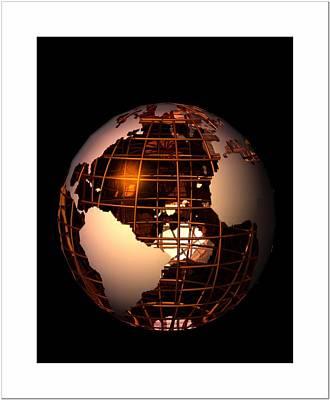 Art Print featuring the digital art Bronze Globe... by Tim Fillingim