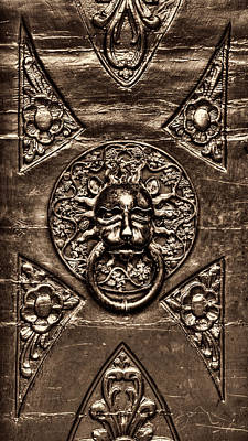 Photograph - Bronze Lion Head And Ring On The Main Door Of The Town Hall In Dubrovnik Sepia by Weston Westmoreland