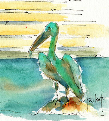 Painting - Bronze Pelican by Pat Katz