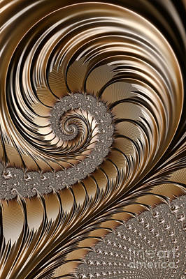 Power Digital Art - Bronze Scrolls Abstract by John Edwards