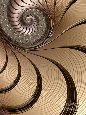 Abstract Shapes Digital Art - Bronze Spiral by John Edwards
