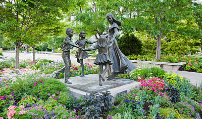 Bronze Statue Of Mother And Children Art Print by Panoramic Images