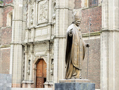 Photograph - Bronze Statue Of Pope John Paul Monument Beside Old Basilica In  by Marek Poplawski