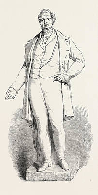 Historic Statue Drawing - Bronze Statue Of The Late Sir R. Peel by Baily, Edward Hodges Ra Frs (1788-1867), English