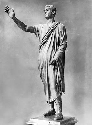 Bronze Statue Of the Orator Art Print by Underwood Archives