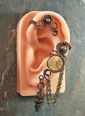 Ear Cuff Jewelry - Bronze Titanium Druzy Crystal Steampunk Ear Cuff/wrap by Heather Jordan