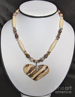 Jewelry - Bronze Zebra Jasper Heart by Megan Cohen