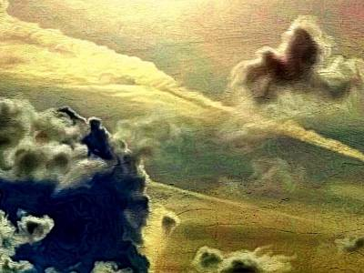 Digital Art - Bronzed Clouds - Horizontal by Lyn Voytershark